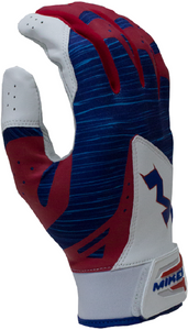 1 Pair Miken MBGL18-RWB Pro Red/White/Blue Adult Batting Gloves Various Sizes