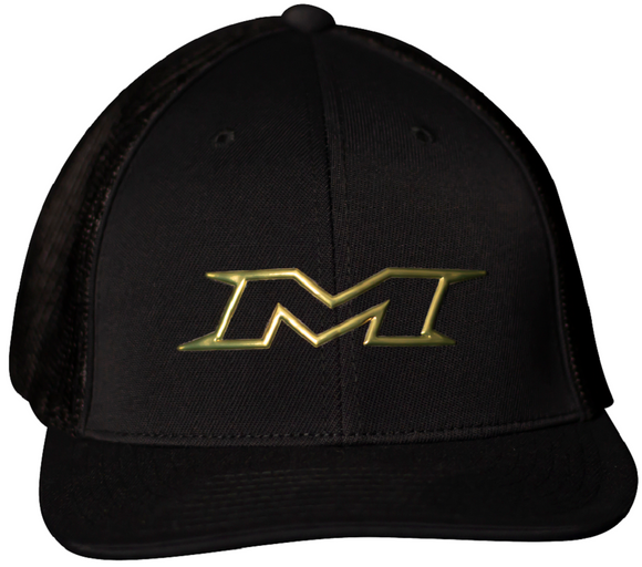 Miken MTRUCK-FGBLK-01 Gold Series 404M FlexFit Hat Black / Gold Trucker Hat
