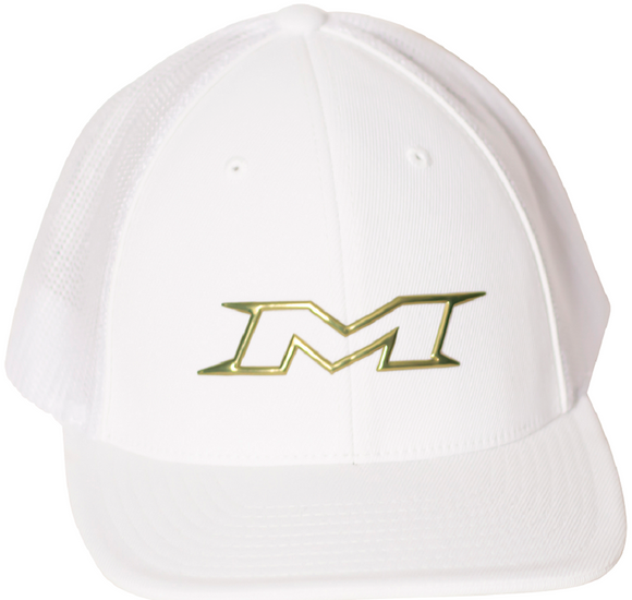 Miken MTRUCK-FGWHT-01 Gold Series 404M FlexFit Hat White / Gold Trucker Hat S/M