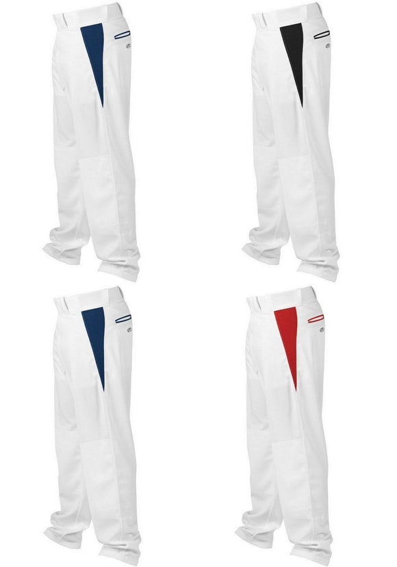 Rawlings YBPVP Youth White/Red Medium V-Notch Piped Relaxed Fit Baseball Pants