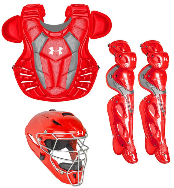 Under Armour UACK3-AP Red Adult Converge Pro Series 3-Piece Catchers Gear Set