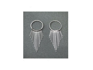Metal Tassel Fringe Long Dangle Earrings for Women