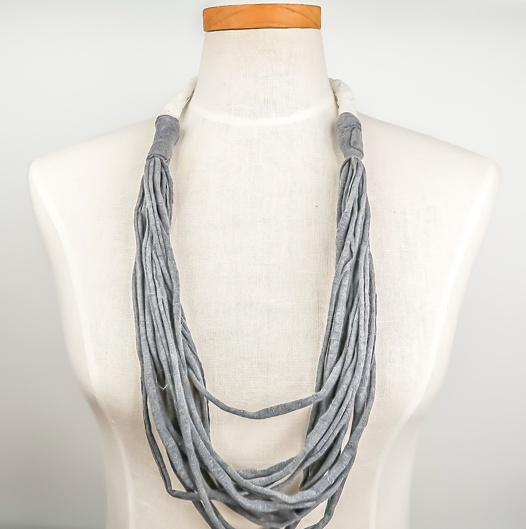 NEW! Up-Cycled Fabric Necklace Gray/White