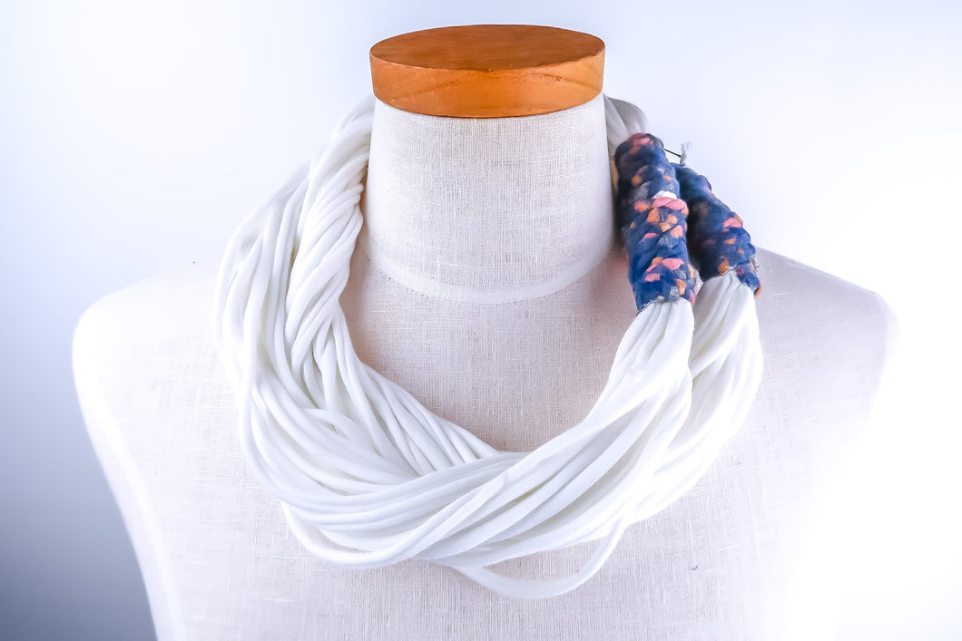 NEW! Up-Cycled Fabric Necklace White