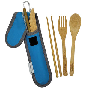 Bamboo Travel Utensil Set Blue