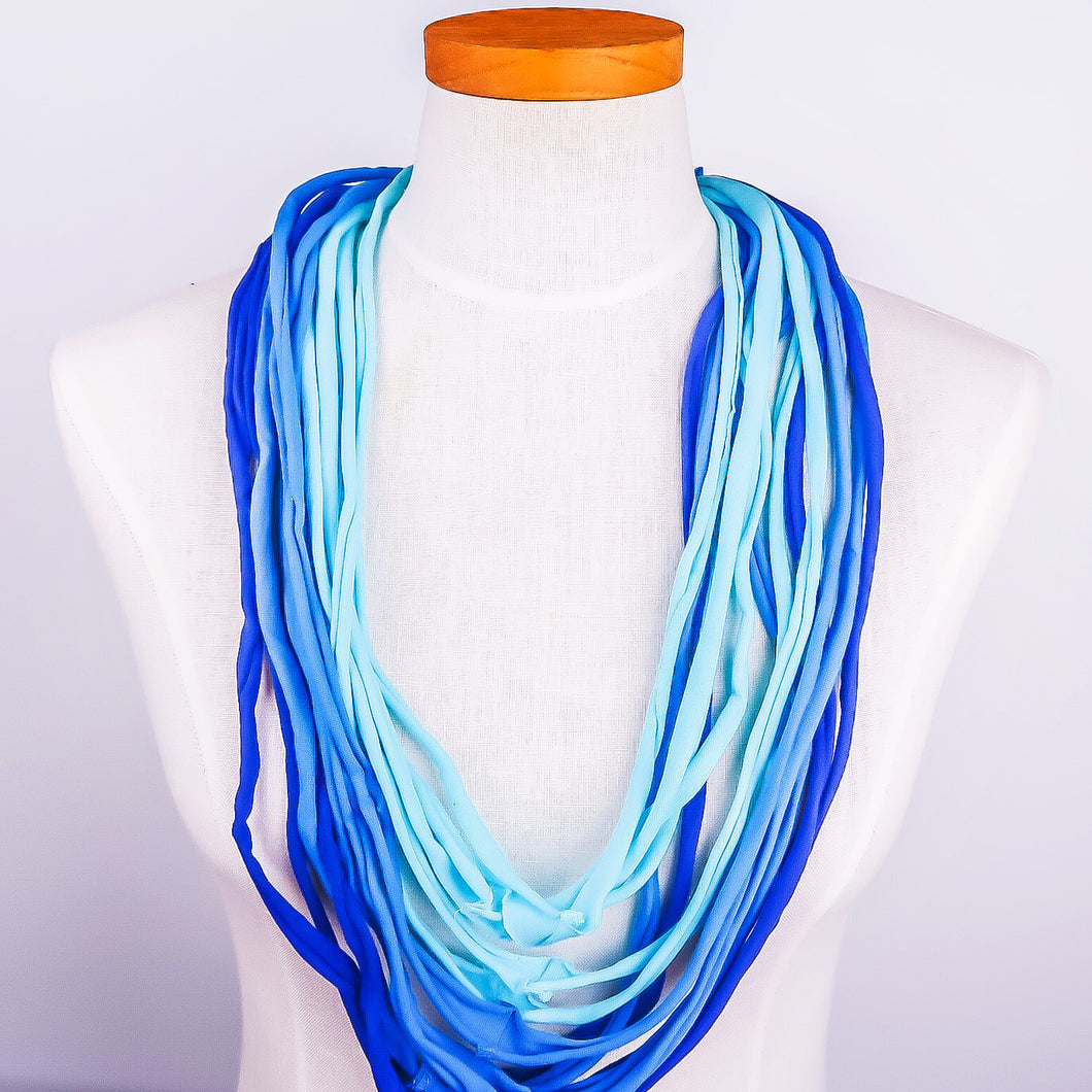 NEW! Up-Cycled Fabric Necklace Blue