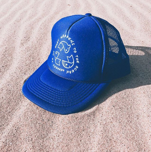 What Happens to the Ocean Happens to Us - Blue  Unisex Surfer Trucker Cap