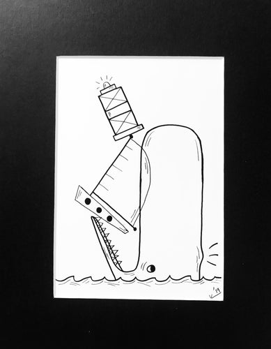 Whale, Boat, Lighthouse Balancing Act Sketch - Print of Original Illustration by Katrina