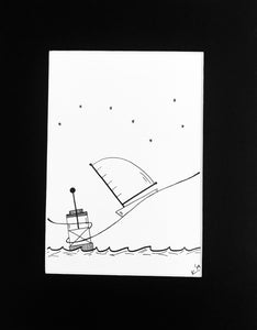 Starry Night Sketch - Print of Original Illustration by Katrina