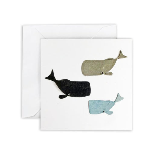Gray, Black & Blue Whale Square Greeting Card