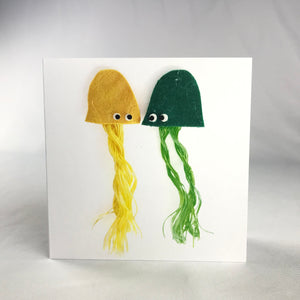 Yellow & Green Jellyfish Square Greeting Card