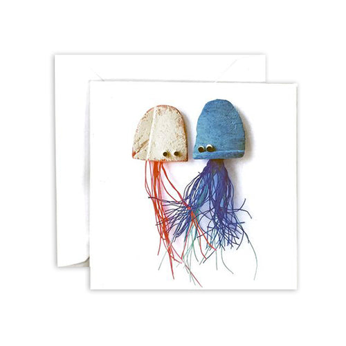 Pink & Blue Jellyfish Square Greeting Card