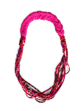 NEW! Up-Cycled Fabric Necklace Pink, Orange & Multi Color