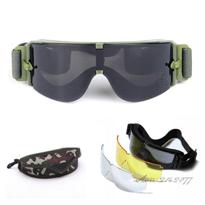 f28cd8412f2 X800 Military Goggles 3 Lenses Tactical Army Sunglasses Paintball Airsoft  Hunting Combat Tactical Glasses
