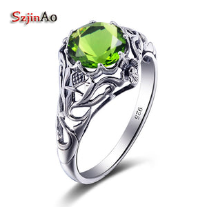 Szjinao New Womens Skull Ring Fashion Peridot Solid 925 Silver Rings for  Women Punk Wedding Souvenirs 5be92496d7