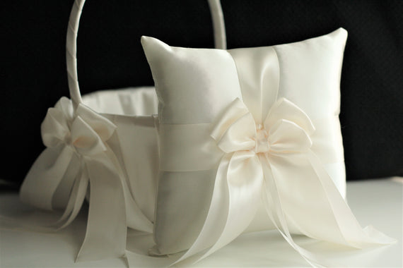 Light Ivory Flower Girl Basket and Ring Bearer Pillow Set