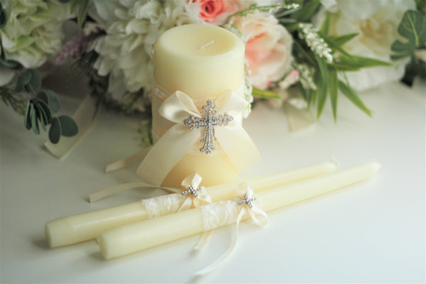 Ivory Unity Candle Set, Wedding Ceremony Unity Candles with Cross
