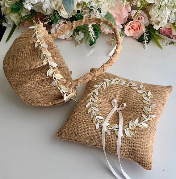 Rustic Flower Girl Basket and Ring Bearer Pillow Set