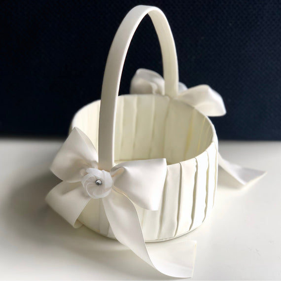 White and Ivory Flower girl Basket by Alex Emotions