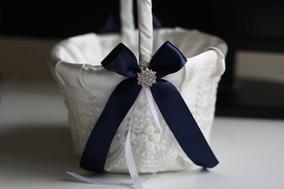 Navy Wedding Baskets with Lace, Navy Flower Girl Basket, Lace Wedding Basket, Blue Wedding Basket, Navy Blue Basket, Navy Petals Basket