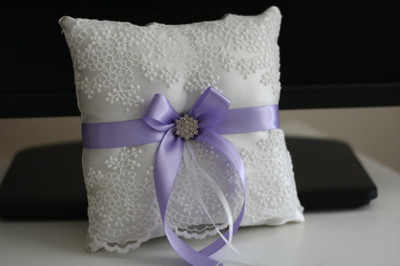 Violet Ring Bearer Pillow \ Violet Wedding Pillow + Lilac Flower Girl Basket, Light Purple Bearer Pillow + Purple Basket Pillow Set