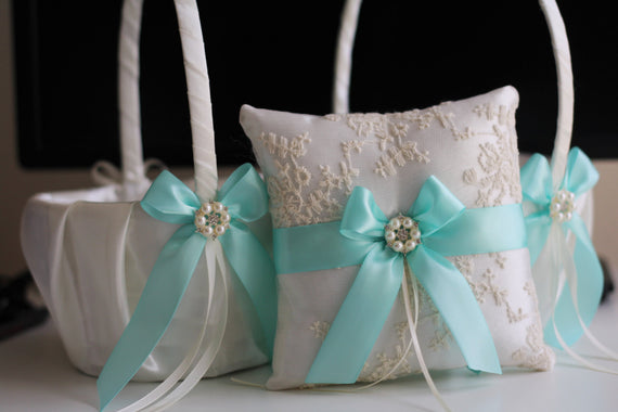 Ivory Aqua basket pillow set