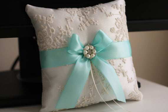 Wedding Ring Bearer & Wedding Basket \ Ivory Aqua Bearer Pillow + Flower Girl Basket \ Ivory Wedding Basket Pillow Set \ Aqua wedding basket