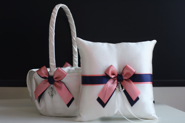 Navy Wedding Pillow Basket Set