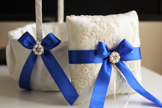 Royal Blue Wedding Ring Holder\ Blue Wedding Basket, Blue Ring Bearer Pillow with Lace, Blue Flower Girl Basket, Blue Lace Pillow Basket Set