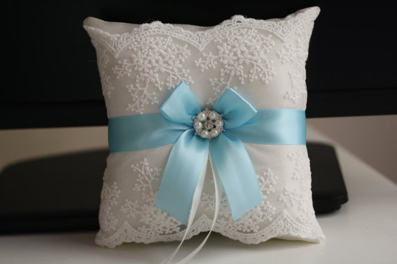 Sky Blue Wedding Pillow \ Light Blue Ring Bearer Pillow \ Blue Flower Girl Basket \ Lace Blue Bearer Pillow \ Lace Wedding Pillow Basket Set