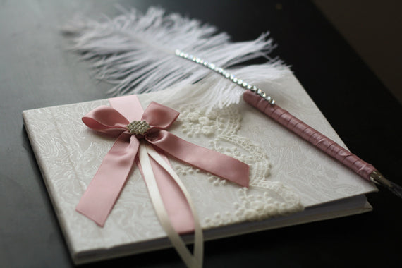 Wedding Guest Book with Pen / Dusty Rose Guest Book / Mauve memory book / Wishes book / ostrich feather pen / wedding sign in book pen