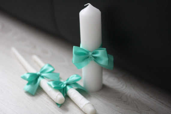 Mint White Unity Candles, Pillar and Stick Wedding Candle, Mint green Handmade Bow Unity Candle, Candles with Ribbon Bow