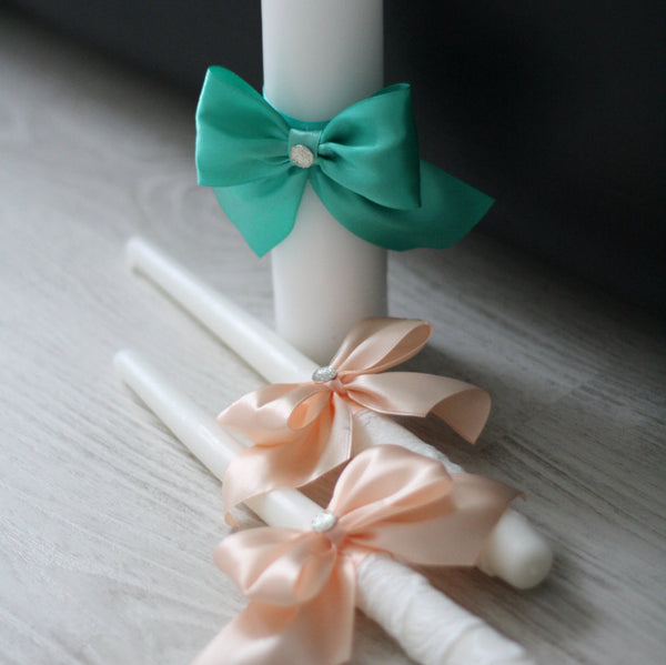 Mint Peach Unity Candles,  White Pillar and Stick Wedding Candle, Mint green and peach Handmade Bow Unity Candle, Candles with Ribbon Bow