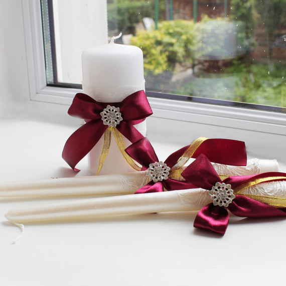 Ivory Burgundy Unity Candles, Ivory Pillar and Stick Wedding Candle, Marsala Handmade Bow Unity Candle, Ribbon Bow + brooch