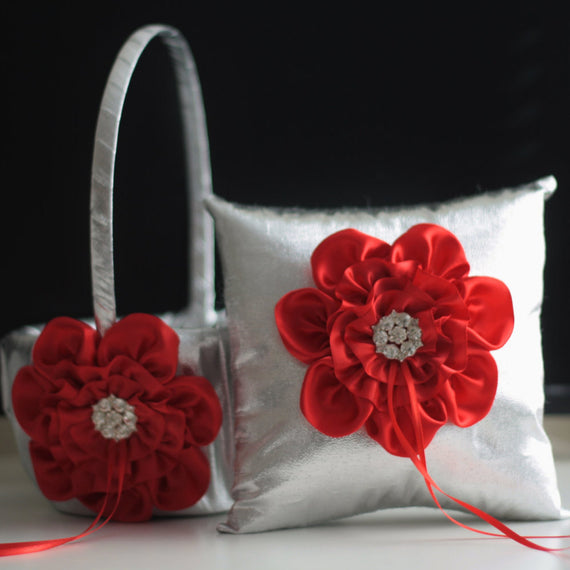 Red Flower Girl Basket \ Red Ring Bearer Pillow \ Red Wedding Basket \ Silver Wedding Pillow \ Silver Basket Pillow Set \ Silver Ring Holder