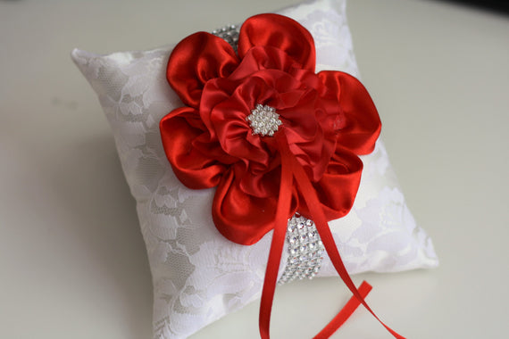 Red Wedding Pillow Basket Accessories Set \ Off white Red Flower Girl Basket & Ring bearer Pillow \ Red Wedding Pillow Basket Set