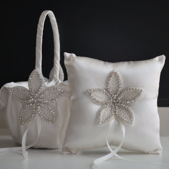 Off white wedding baskets / jewel ring bearer pillow / ivory flower girl basket / jewel wedding pillow / Ivory jewel baskets for petals