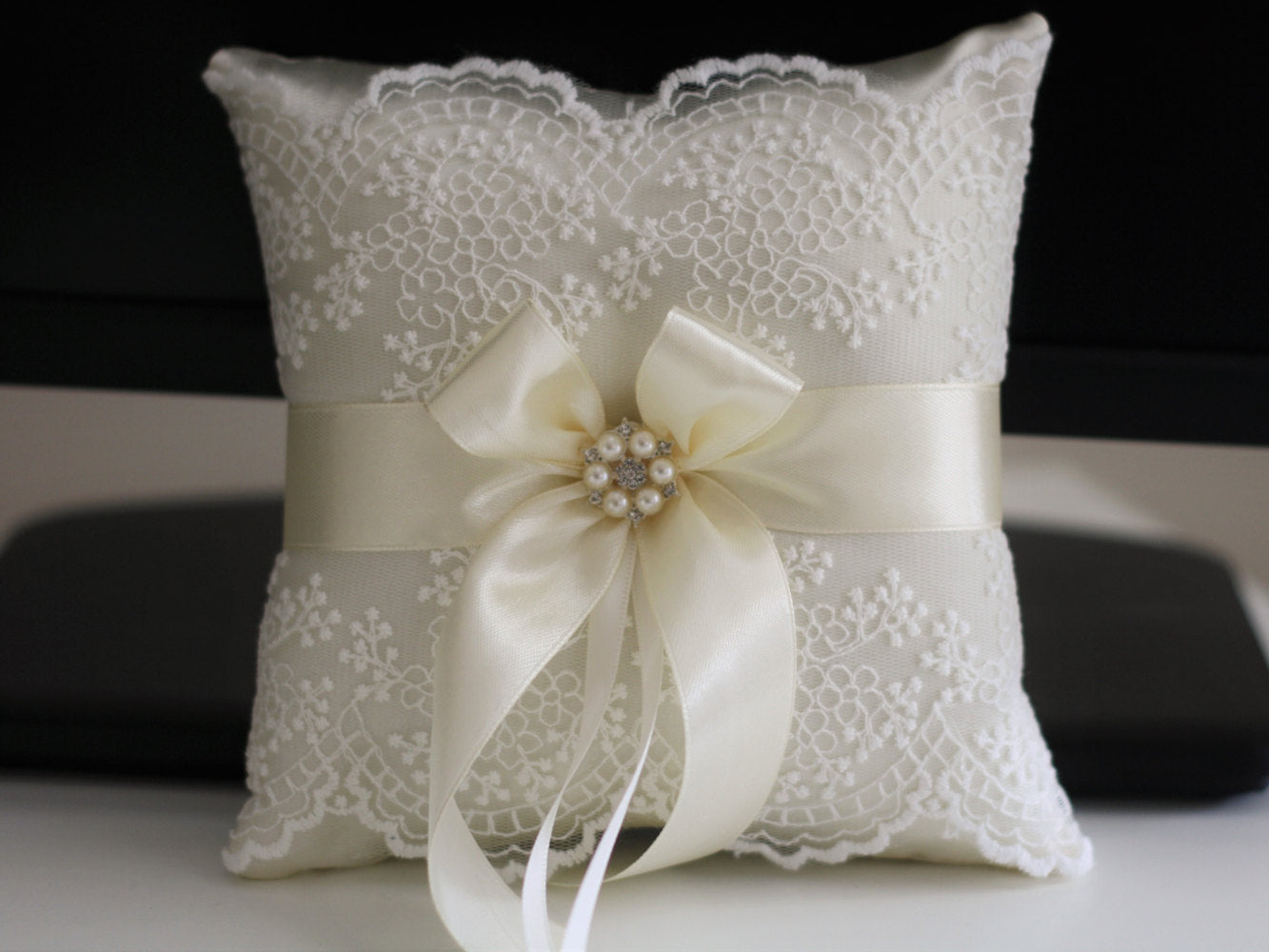 satin ceremony store mic ring pillow bearer product ivory wedding baskets ribbon shipment heart hot sell pillows about flower rhinestones