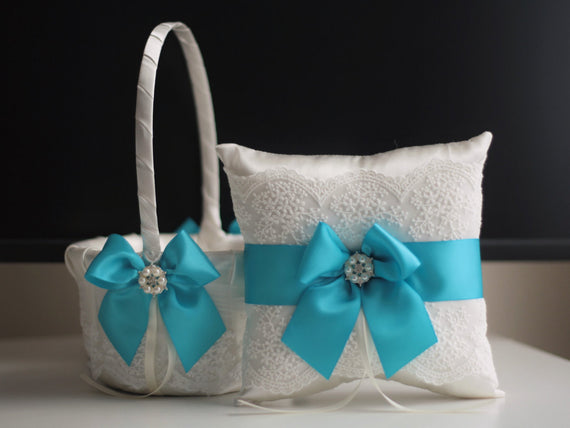 Turquoise Basket / Turquoise Bearer Pillow / Blue Ring Pillow / Turquoise Flower Girl Basket / Blue Garters / Turquoise Pillow Basket Set