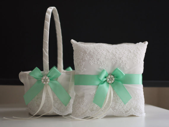 Mint Wedding Flower Girl Basket + Ring Bearer Pillow \ Lace green Wedding Ring Holder + Petals Wedding Basket Set with Light green Bows
