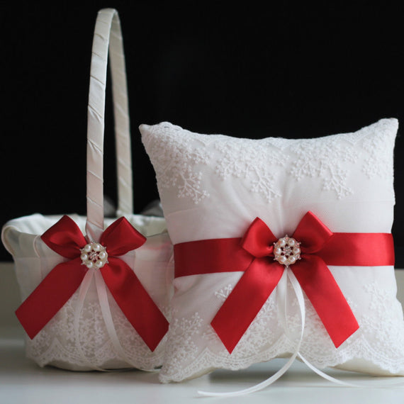 Red Ring Bearer Pillow \ Red Flower Girl Basket \ Red Wedding Pillow \ Red Wedding Basket Pillow Set \ Wedding Ring Pillow  Red Ring Cushion