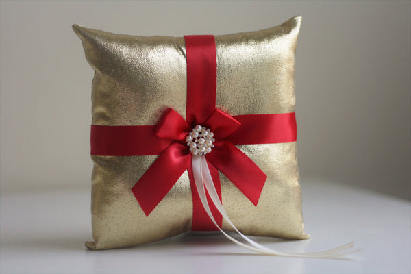 Ring Bearer Pillow / Red Gold Bearer / Red Ring Pillow / Red Wedding Pillow / Gold Wedding Pillow Basket Set / Gold Red Bearer Pillow