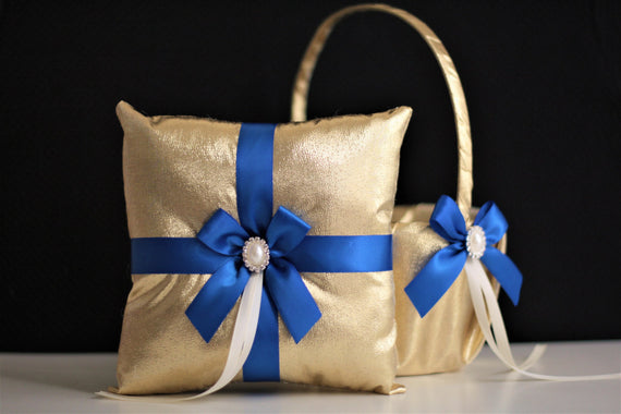 Royal Blue Wedding Basket + Ring Bearer Pillow Set \ Gold Blue Flower Girl Basket Pillow Set \ Gatsby Wedding \ Royal Blue Wedding pillow