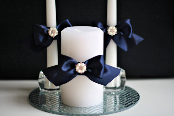 Navy Blue Wedding Candles / Unity Candles / Navy unity candles \ Church Candles \ Ceremony Candles \ Navy Pillar candle / navy stick candle