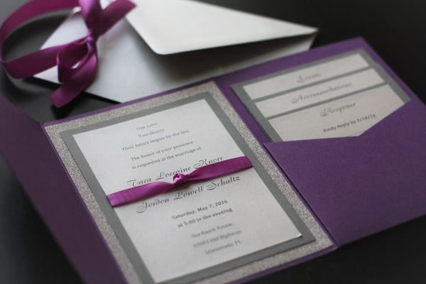 Purple Wedding Invitations / Pocket Fold invites / Glitter silver invites / Purple invitations / RSVP Insert cards / Personalized Invites