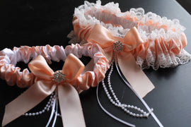 Ivory Peach Bridal Garter Set \ Ivory Lace Wedding Garter Set \ Peach Toss Garter & Keepsake Garter \ Lace Bridal Garters, Peach Prom Garter