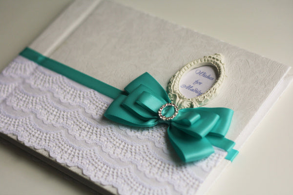 Mint & White Wedding Guest Book with initials \ Mint Baby shower Wishes Book \ Personalized Wedding Sign in Book + Ostrich Feather Pen