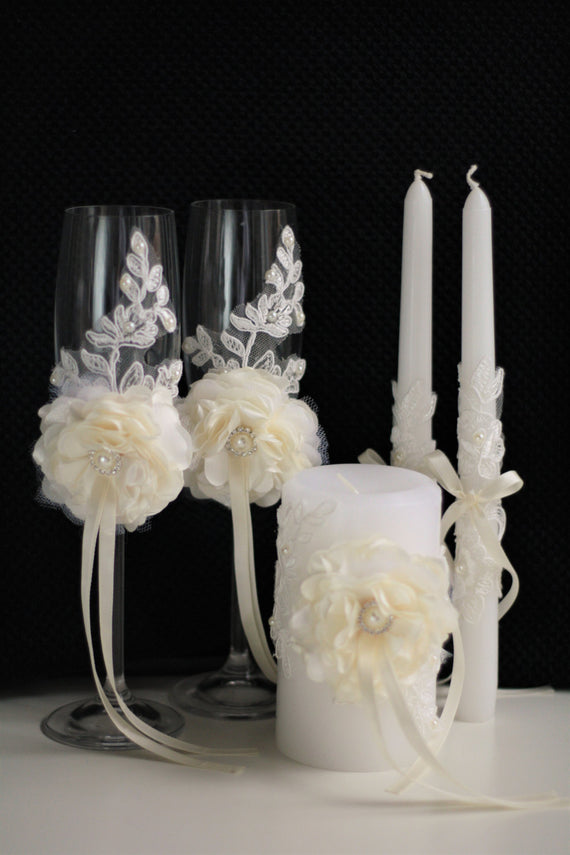 Wedding Flutes Ivory Wedding Cake Serving Set Ceremony Candles Lace Unity Candles and Champagne Glasses with Flower \\ Cake Cutting Set