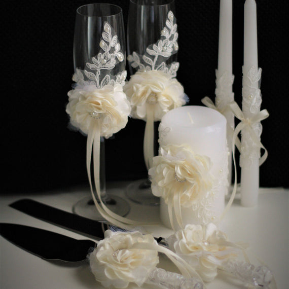Ivory Wedding Cake Serving Set + Lace Unity Candles and Champagne Glasses with Flower \ Cake Cutting Set + Ceremony Candles + Wedding Flutes