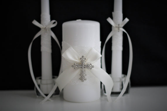 Wedding Candles \ Church Wedding Unity Candles \ Off-White, White or Ivory Wedding Candles \ Lace Unity Candle Set \ Christian Wedding